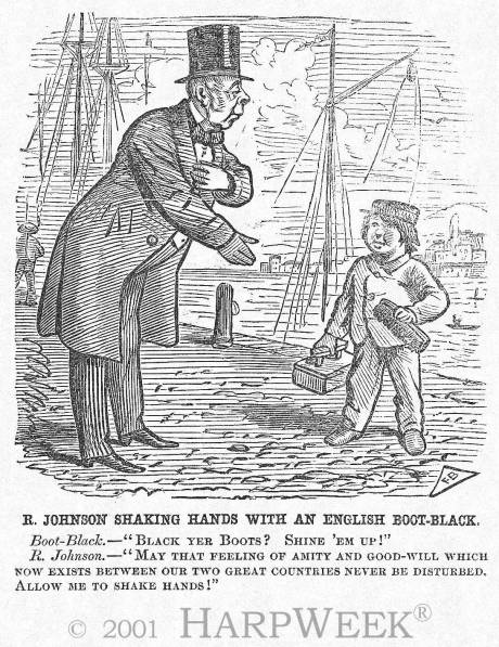 """R. Johnson Shaking Hands With An English Boot-Black"""