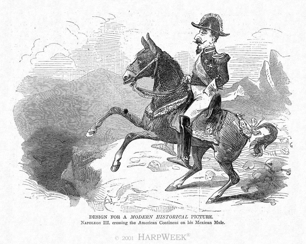 """Design for a <I>Modern Historical </I> Picture:  Napoleon III crossing the American Continent on his Mexican Mule"""